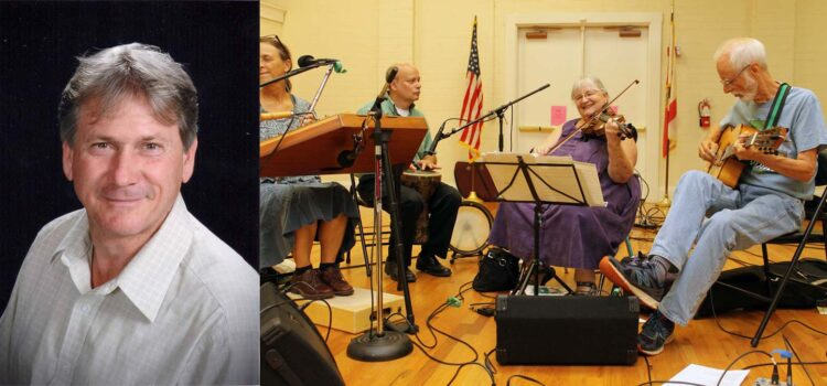 The contra dance band is Wind That Shakes the Barley and the caller is John Rogers.