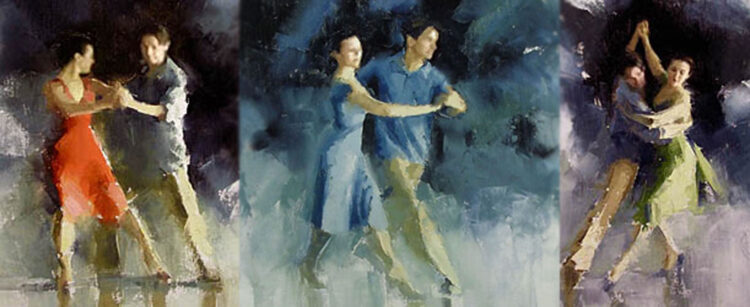 Richard Powers dancing the cross-step waltz with Angela Amarillas