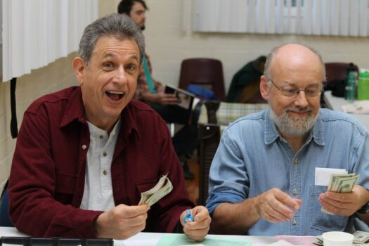 Volunteers Bob Saint Laurent and Pete Turner rake in the cash at G.O.D.S. contra events, but this virtual contra dance is free on Sunday June 7th from 4-6 pm. See the event page for details.